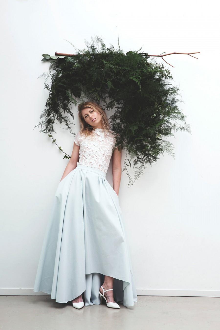Wedding Skirt With Pockets Blue Silk