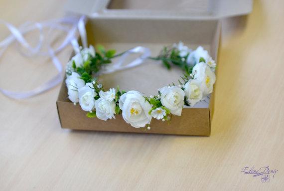 زفاف - Spring wedding flower crown white floral head wreath white green floral crown pearl bridal halo wedding crown roses hair