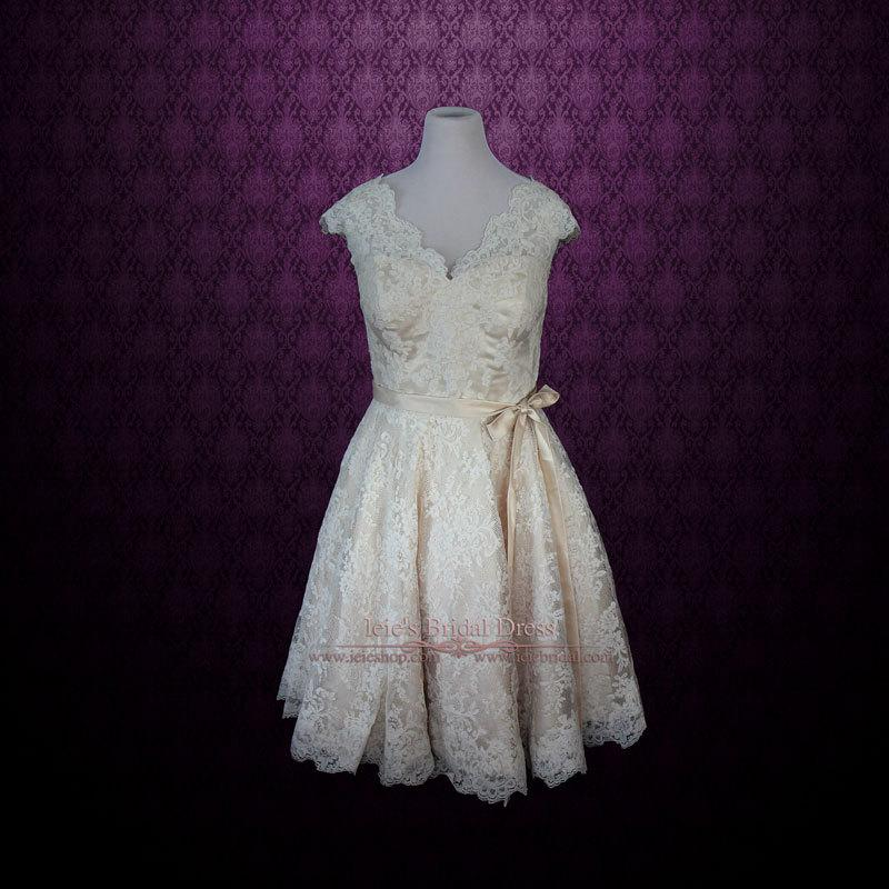 Wedding - Retro 50s 60s Champagne Lace Knee Length Wedding Dress with Thin Sash