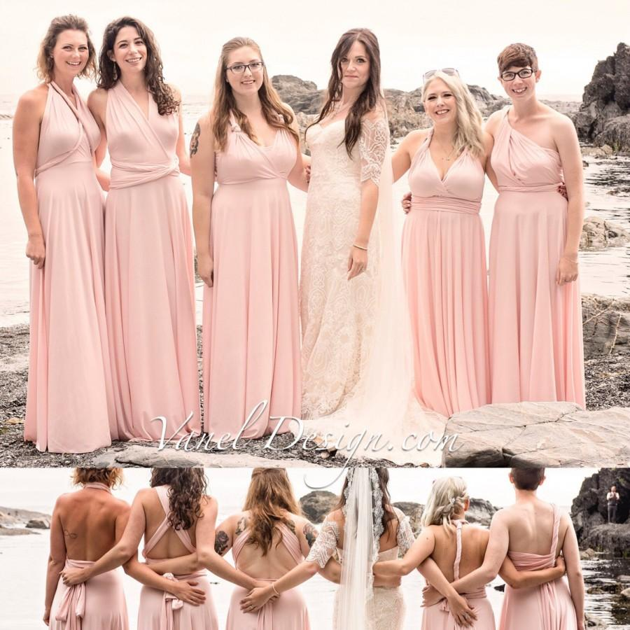 Mariage - Bridesmaid Dress, One Dress Endless Styles INFINITY Blush Bridesmaids Dress Custom Designed CONVERTIBLE Bridesmaids Dress Long Blush