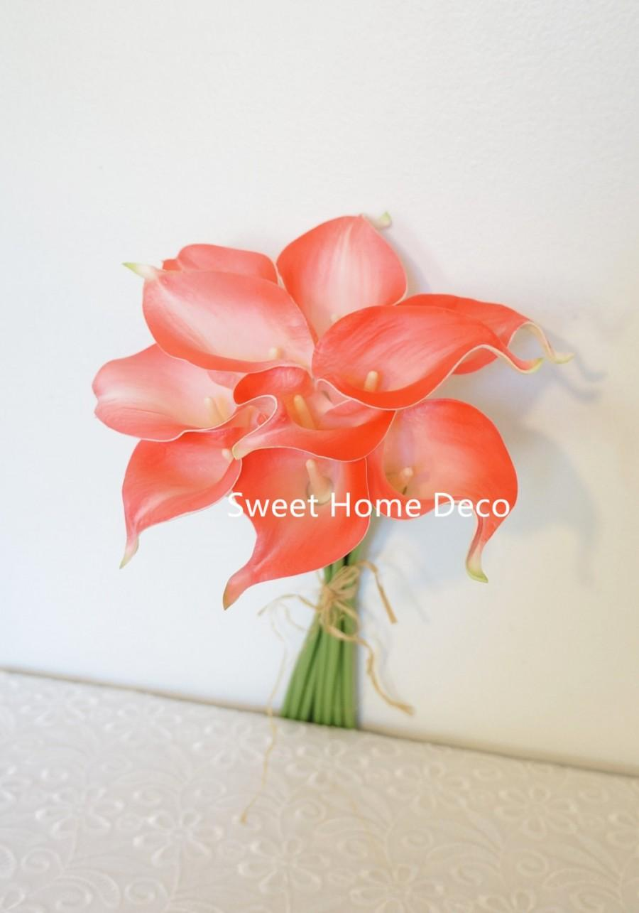 """Wedding - JennysFlowerShop 15"""" Latex Real Touch Artificial Calla Lily 10 Stems Flower Bouquet for Wedding/ Home Coral"""
