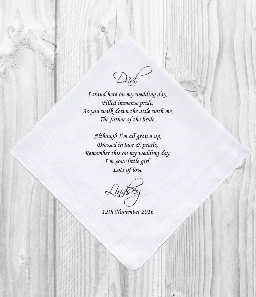 Hochzeit - Personalised Father of the Bride Handkerchief Customised Personalized Customized Printed Wedding Gift Favor