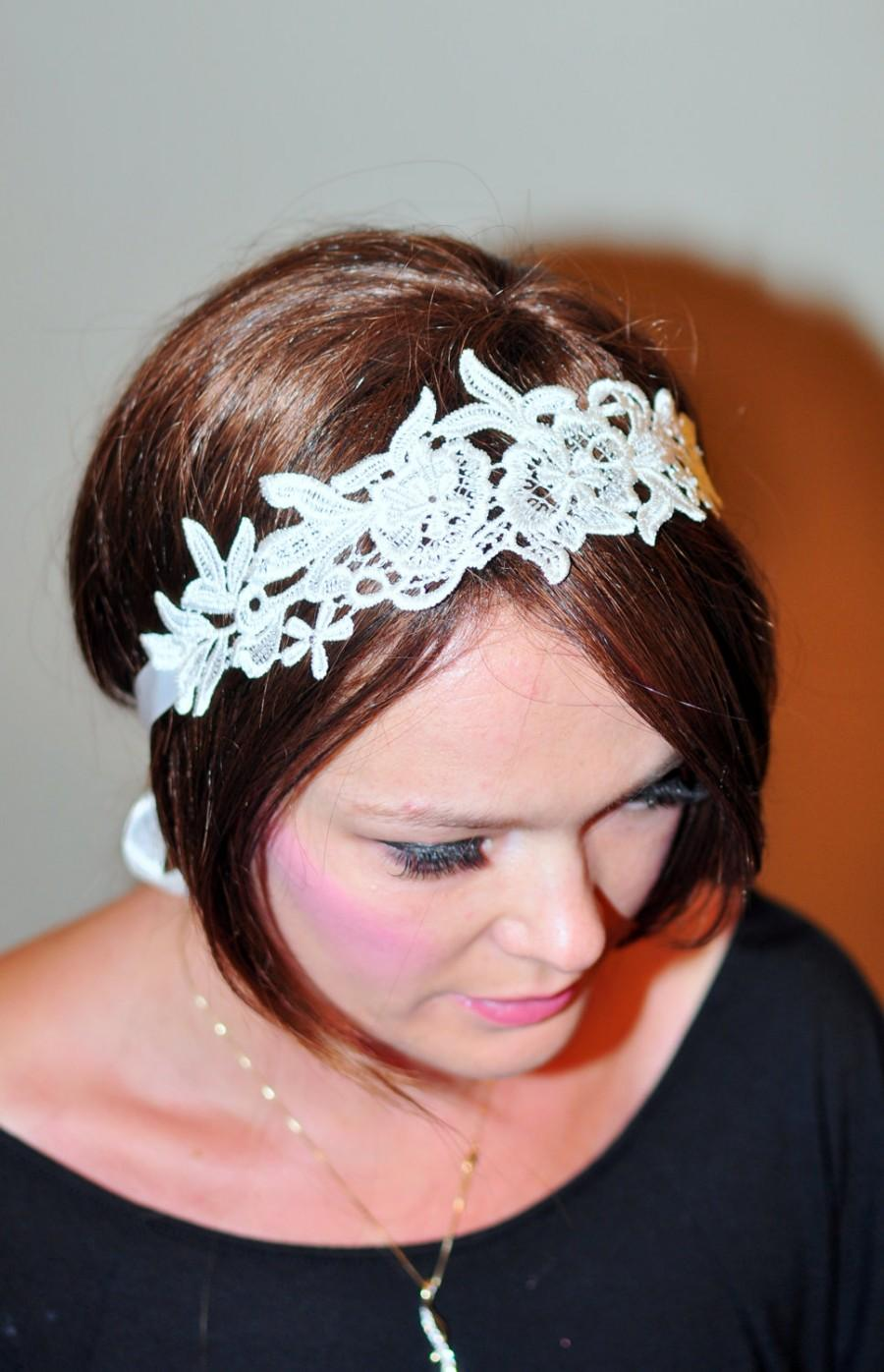 Mariage - Lace Headband Ivory Headwrap Bridal Hair Band Vintage Head wrap Hair Scarf  Romantic Girly Flowers Laces  Gift