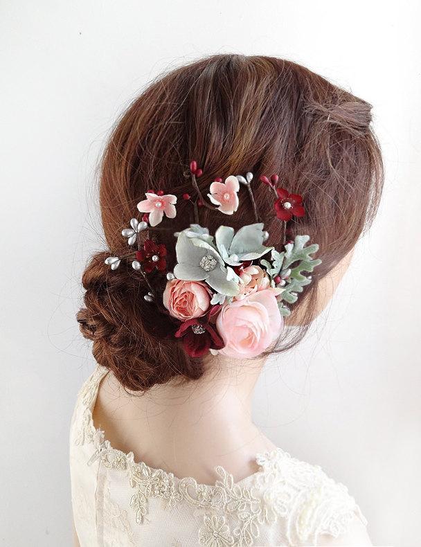 12e26e63b59d9 bridal hair accessories, burgundy wedding hair clip, bridal hair piece,  pink flower, floral headpiece, bridal headpiece, bridal hair comb