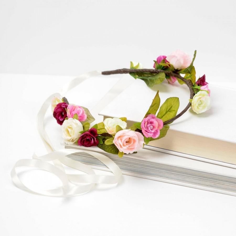 Mariage - Rustic Rose Flower Crown, Woodland Nymph Circlet, Wedding Flower Halo, Floral Bridal Hair Piece, Boho Head Wreath, Pink Rose Headband