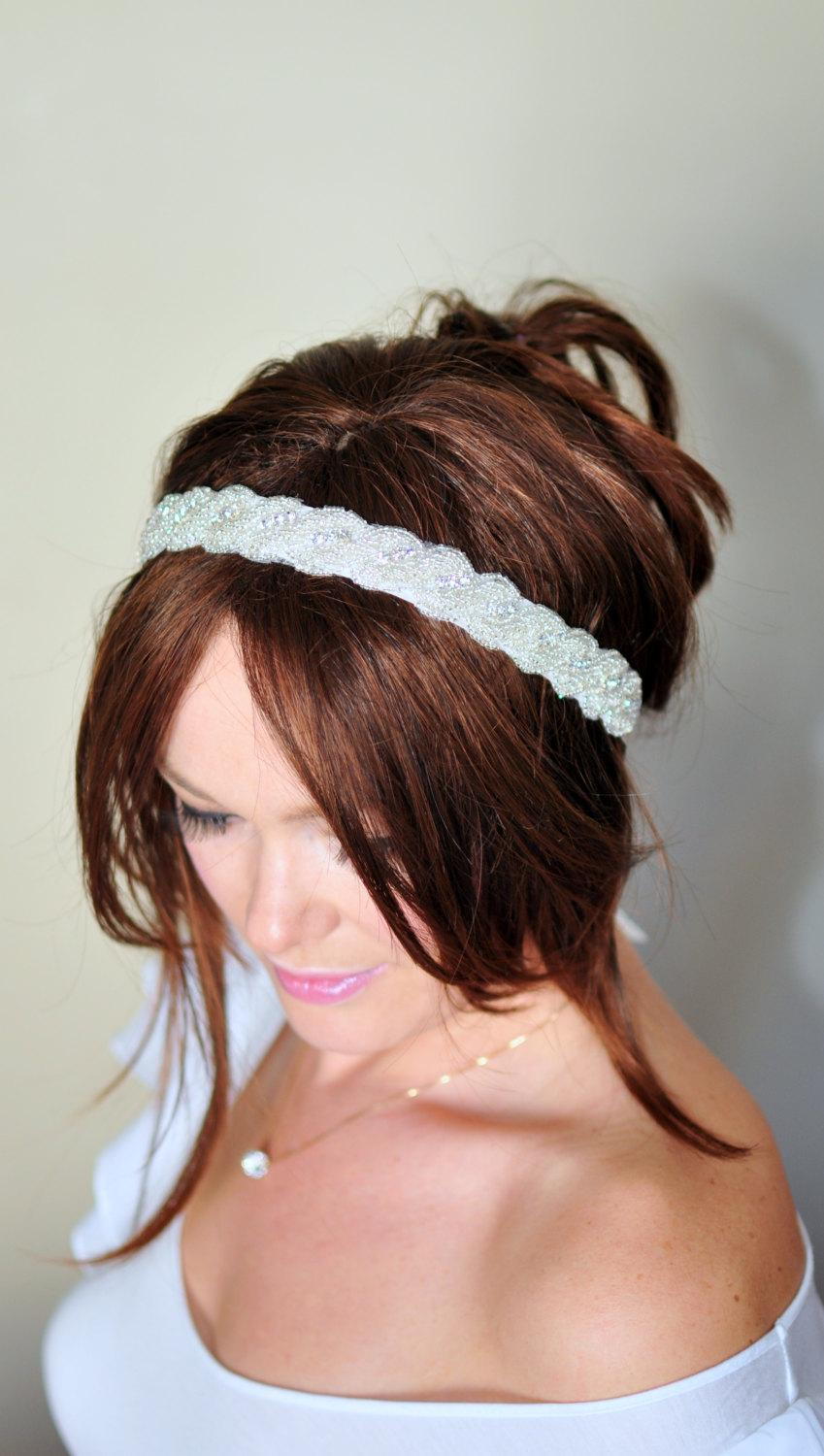 Mariage - Bridal Headband Ivory Wedding Headband Wedding Rhinestone Crystal Bridal Hair Band Vintage Head wrap Romantic Girly
