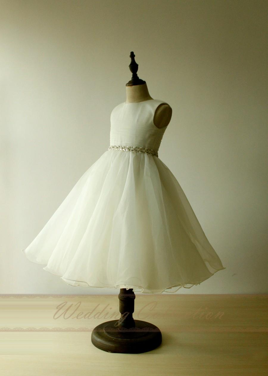 Mariage - A Line Princess Flower Girl Dress Ruching Bodice High Neck with Crystals Waistband