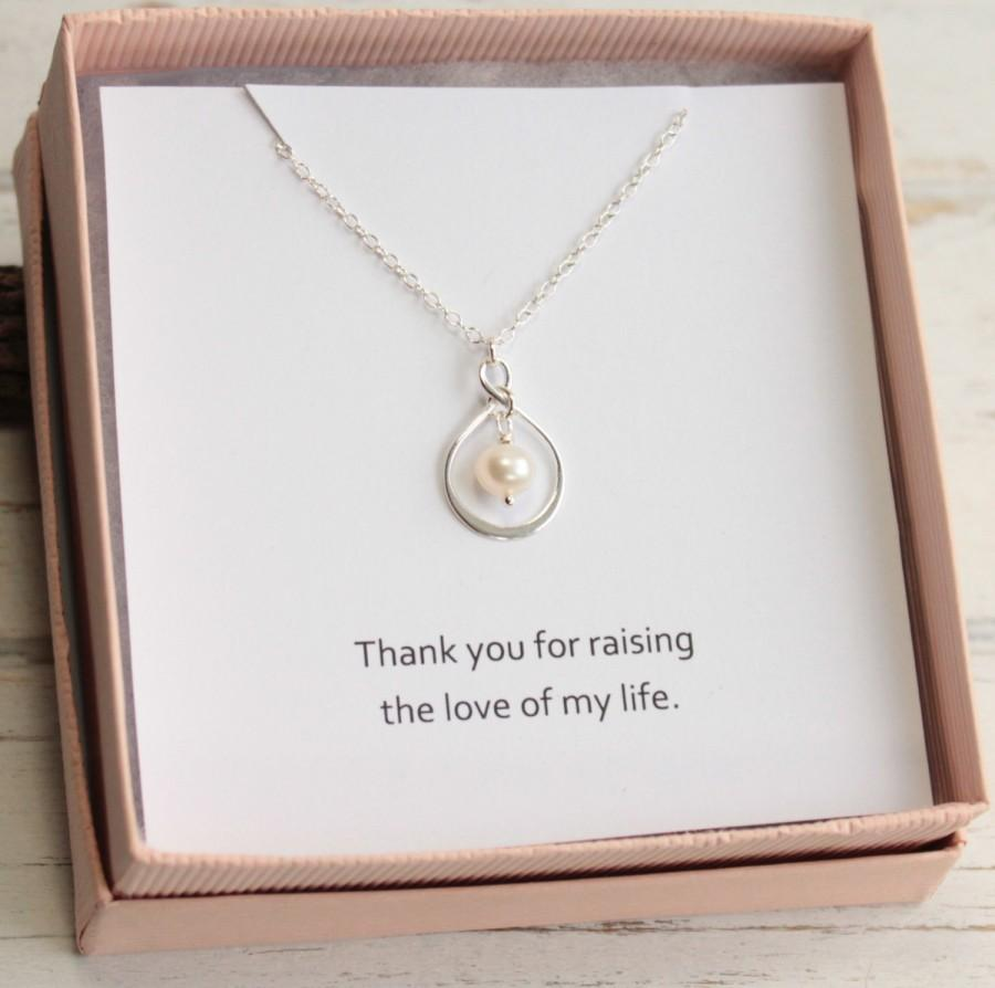 Wedding - Mother-in-law's Sterling Silver Pearl Necklace with Sentiment Card