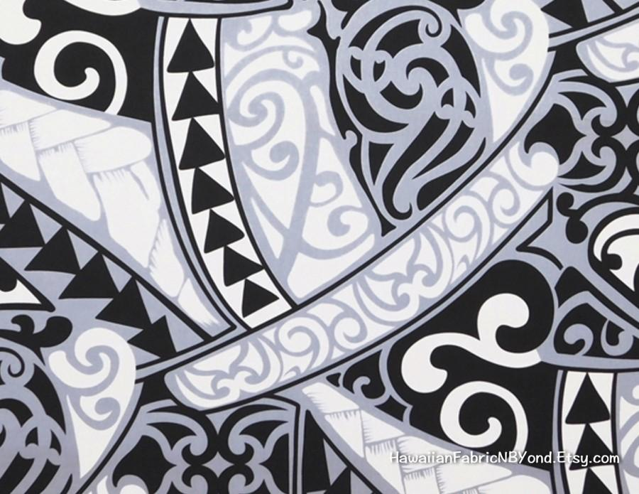 Свадьба - Maori Tribal Fabric Polynesian Tattoo Tapa Manly Print Lavalava Aloha Shirt Black White Gray, HPCN10028, Ask for bulk