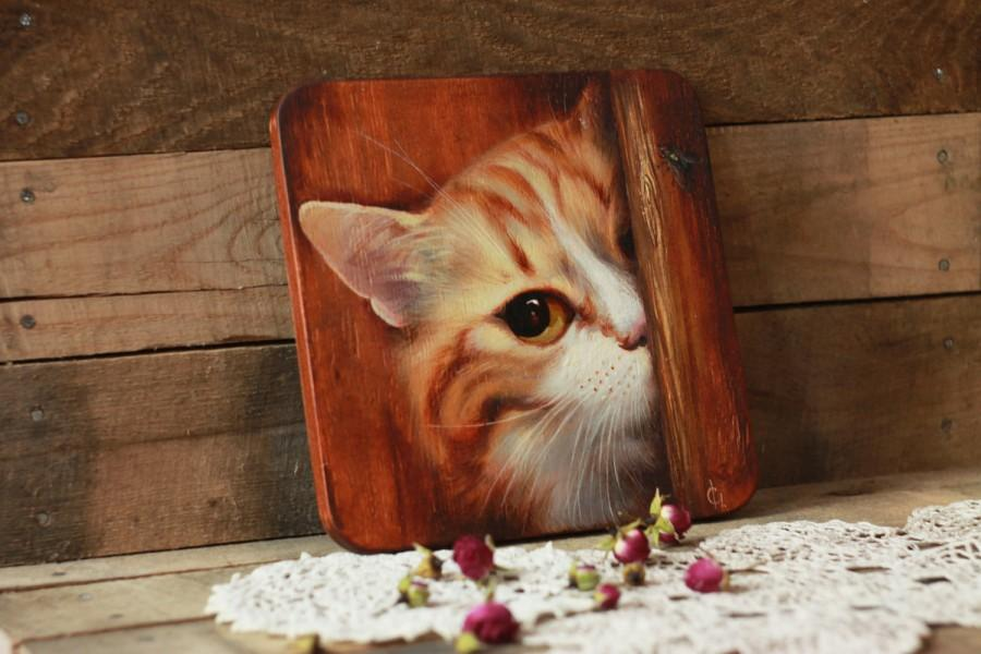 Wedding - Red cat, art panels, wooden, on the wall, animals, cat