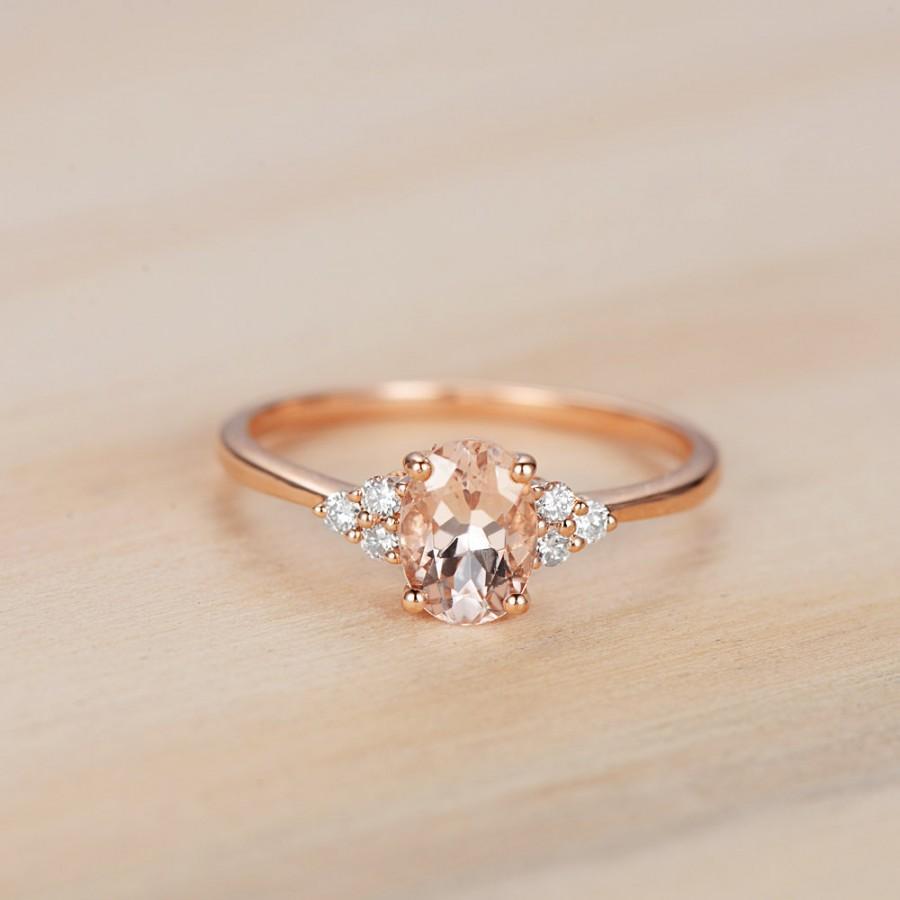 oval cut pink morganite ring 14k rose gold morganite