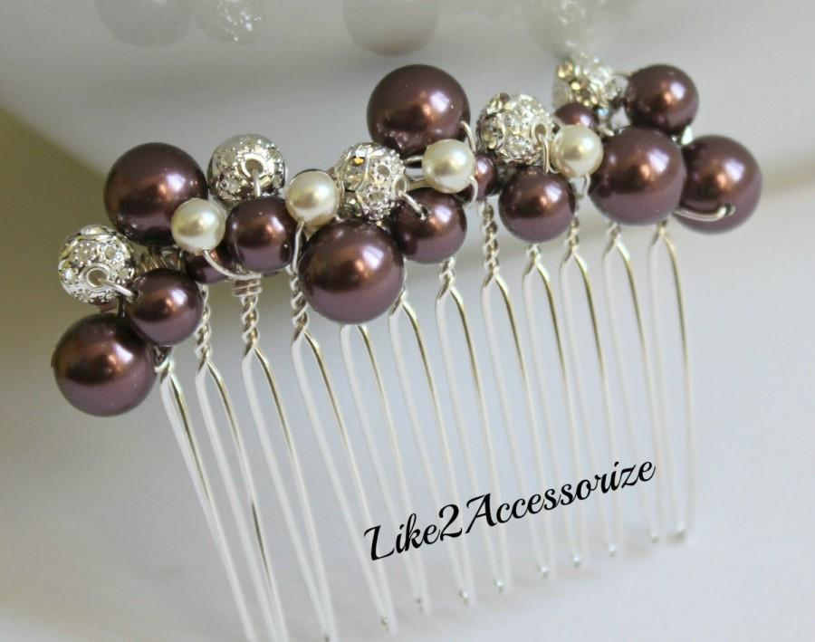Mariage - Burgundy Maroon Hair Comb Bridal Headpiece Wedding Hair Accessories Pearl Comb Bridesmaid Hairpiece Bridal Falls Wedding Vintage Hair Comb
