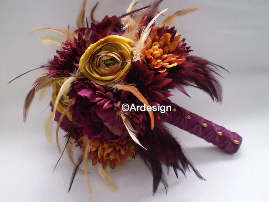 Mariage - MARSALA MAIDEN  Wedding Bouquet With Feather Accents And Feather Bow