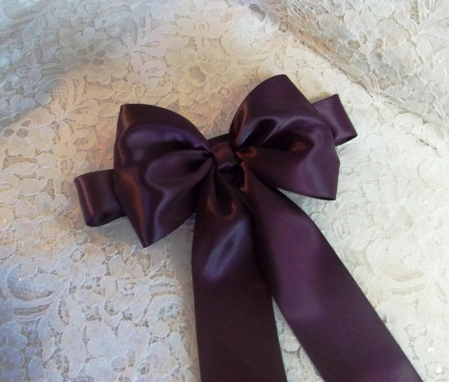Mariage - Eggplant Satin Flower Girl Sash, Double Face Satin Ribbon Sash with Large Bow, Bridal Sashes, Flower Girl Sash