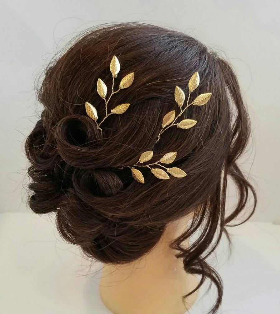 Mariage - Gold Bridal Hair Vine, Gold Leaf Hair Comb, Gold Hair Vine, Leaf Bridal Comb, Bridal Hairpiece, Wedding Hair piece, Gold Leaf Hair Vine