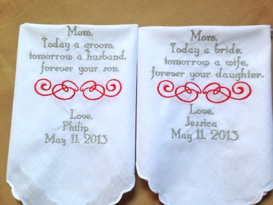 Свадьба - 2 Customized wedding handkerchiefs mother of the bride ,mother of the groom