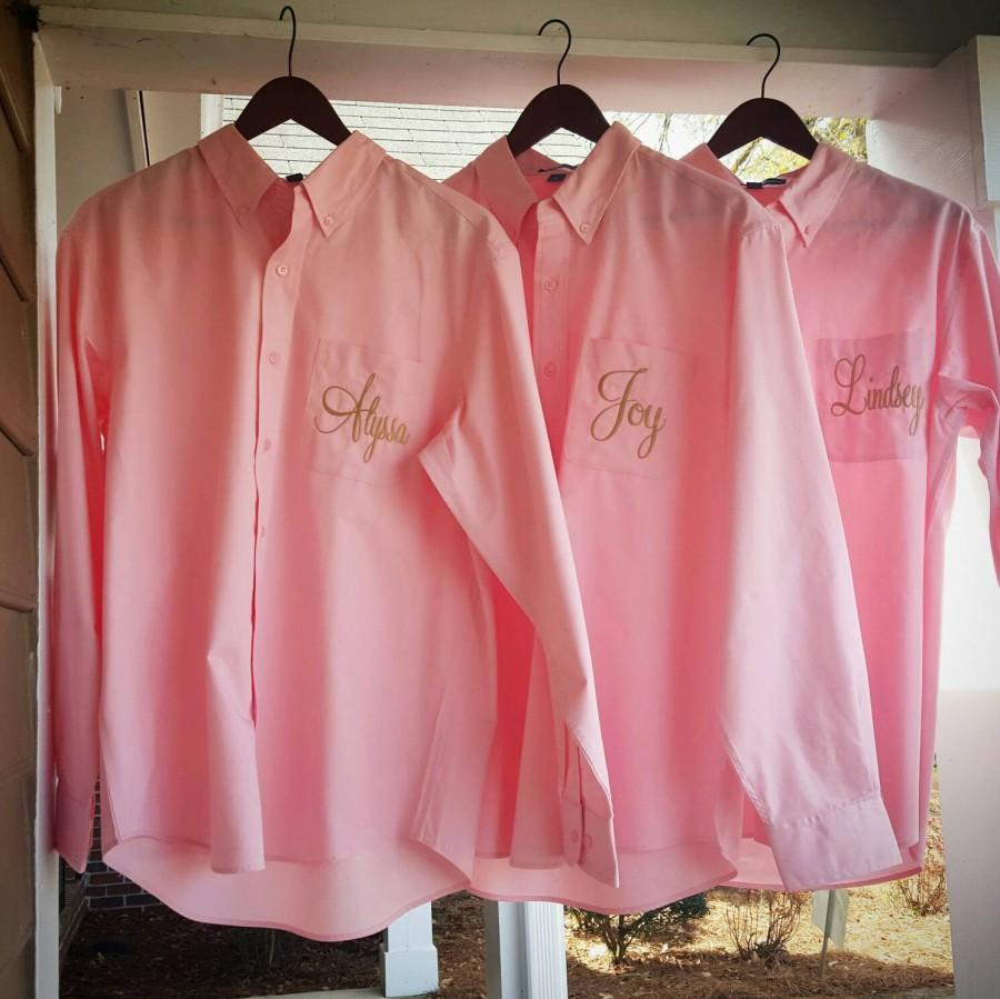 Mariage - Set of 10 Adult Embroidered Button Downs .  Monogrammed Oversized Shirts