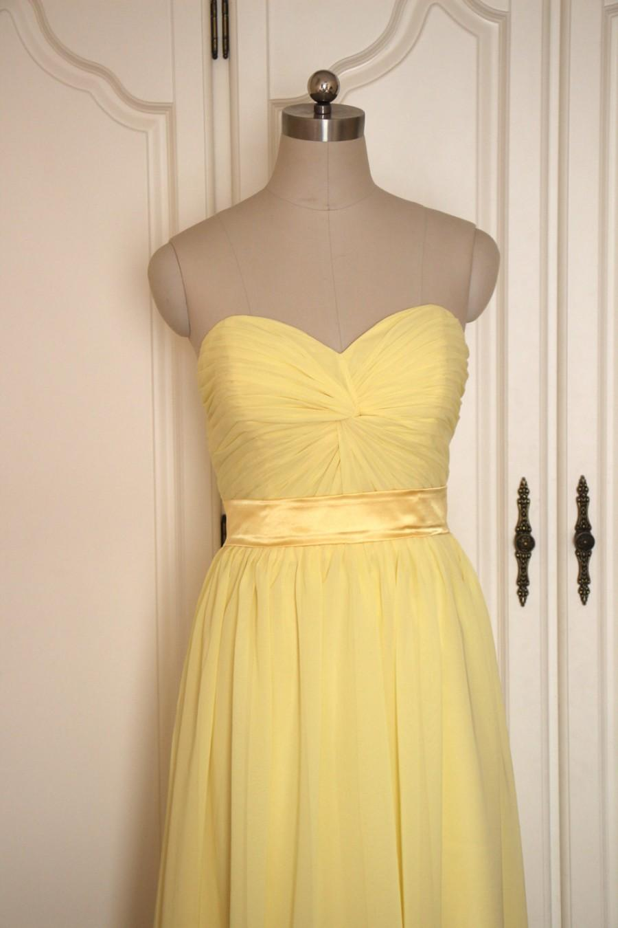 Wedding - Yellow Sweetheart Bridesmaid Dress Short/Floor Length Chiffon Yellow Strapless Bridesmaid Dress - Custom Dress