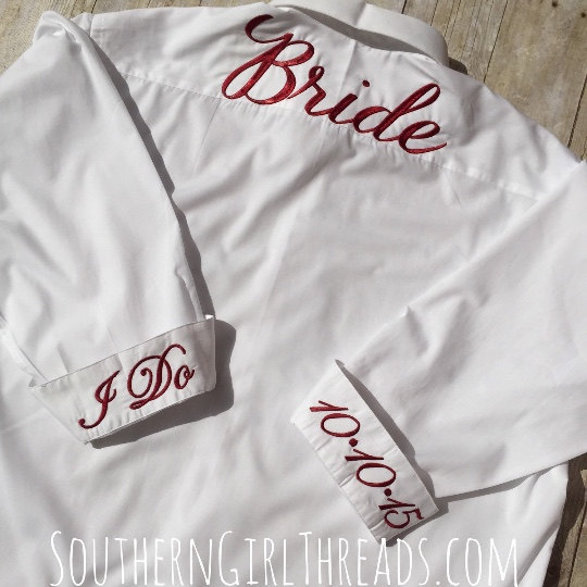 Wedding - Bride Shirt for Wedding Day,Bridesmaids Button Down Shirt, Bride Shirt, Bride's Button Down Shirt, Wedding Day Bride Shirt
