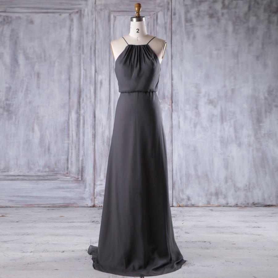 Wedding - 2016 Charcoal Gray Chiffon Bridesmaid Dress Long, Spaghetti Straps Wedding Dress, A Line Prom Dress, Backless Maxi Dress Floor Length (L255)