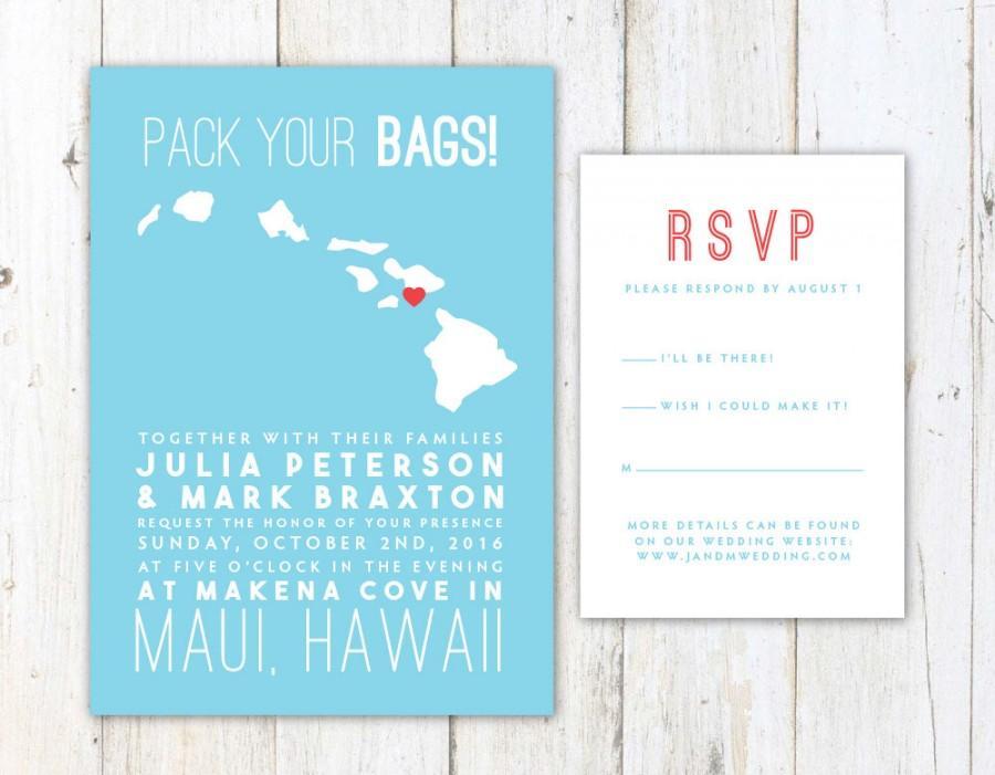 Mariage - Hawaii Wedding Invitation, Destination Wedding Invitation, Hawaiian Islands Map Wedding Invitation