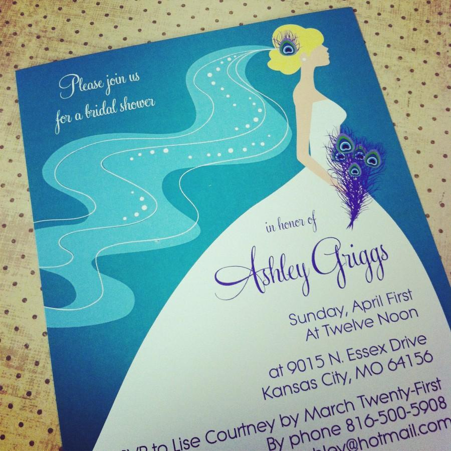 Wedding - Peacock Bridal Shower / Bachelorette Party Invitation