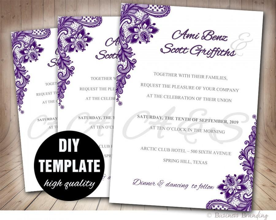 Lace Purple Wedding Invitation DIYAubergine
