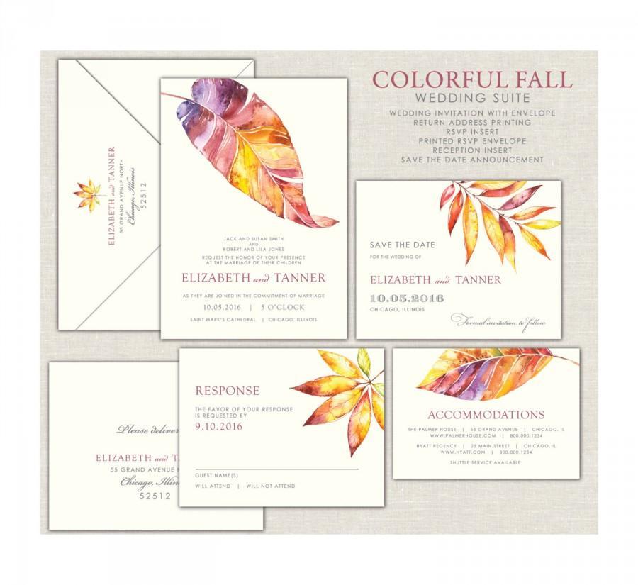 Mariage - Fall Leaves Wedding Invitation, Colorful Fall Invitations, Gold Leaves Wedding Invitations, Burgandy Fall Wedding, Modern Fall Wedding