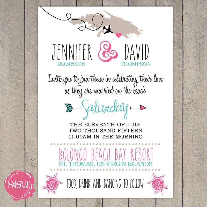 Destination Wedding Invitation - Travel Theme - Beach - Island ...