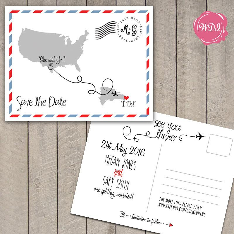 Boda - Destination Wedding Save the Date Postcard - Travel Theme - Custom - Printable - DIY