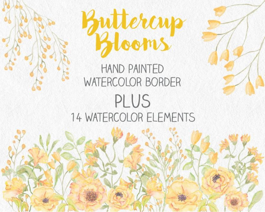 Wedding - Watercolor border of hand painted buttercup blooms; watercolor clip art; wedding clip art; weddings; instant download