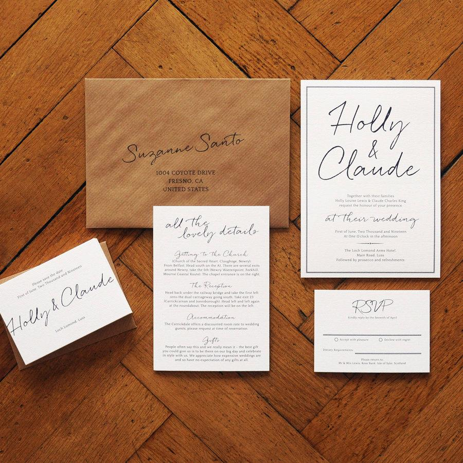 East Coast Wedding Invitation Set On Luxury Card - Modern ...
