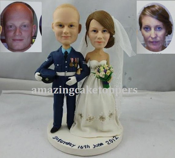 Свадьба - bride and groom custom cake topper form your photo figurine cake topper personalized cake topper birthday cake topper wedding shower