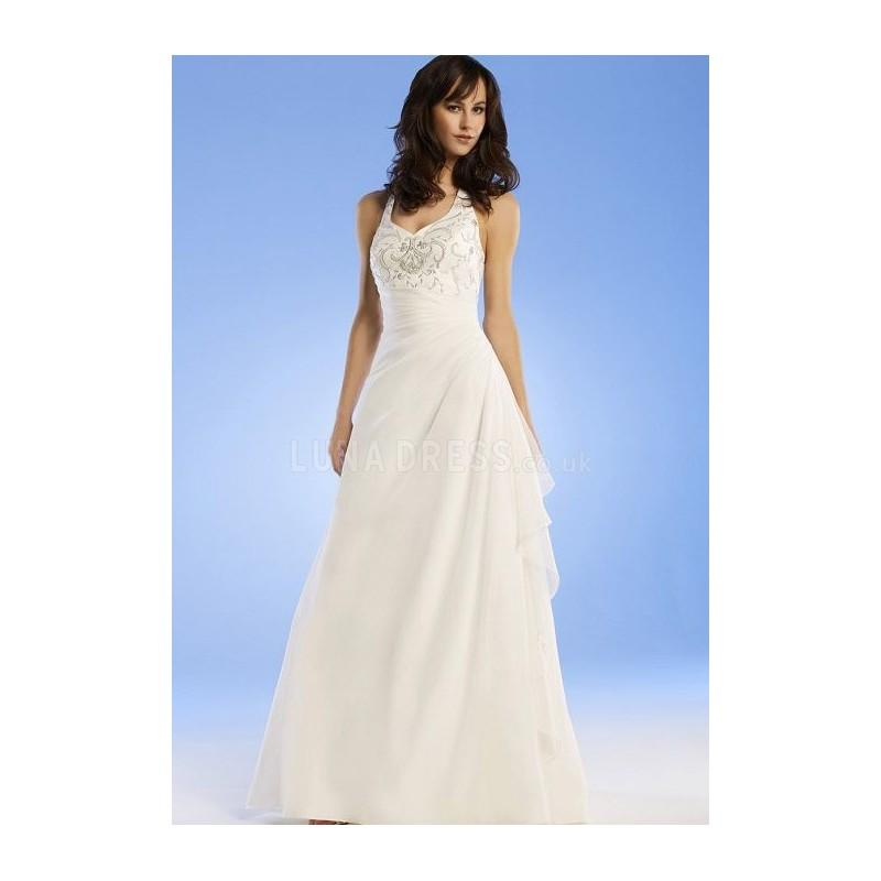 Hochzeit - Dramatic Halter A line Chiffon Sleeveless Sweep/ Brush Train Bridal Gowns - Compelling Wedding Dresses