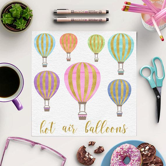 Hochzeit - Hot Air Balloon Clipart, Gold And Watercolor Balloons, For Birthday, Wedding, Invites, Instant Download, Coupon Code: BUY5FOR8