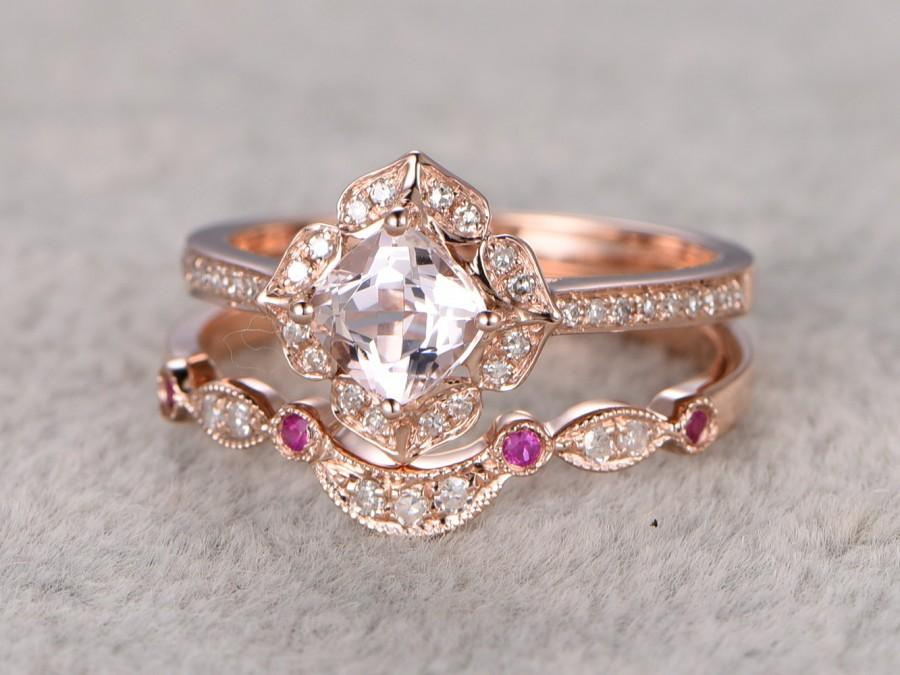 Floral Engagement Ring Cushion Cut Set