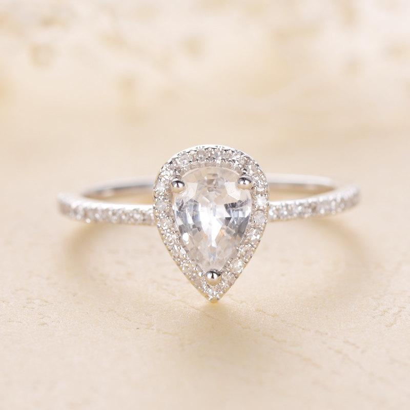 engagement ring pear white sapphire pear shaped engagement ring pear shaped ringwhite sapphire engagement ringwhite sapphire bridal set - Pear Shaped Wedding Ring