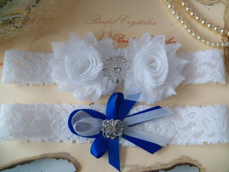 Hochzeit - Wedding Garter/Bridal Garter/ White Stretch Lace /White Flower with  Rhinestones /Something Blue
