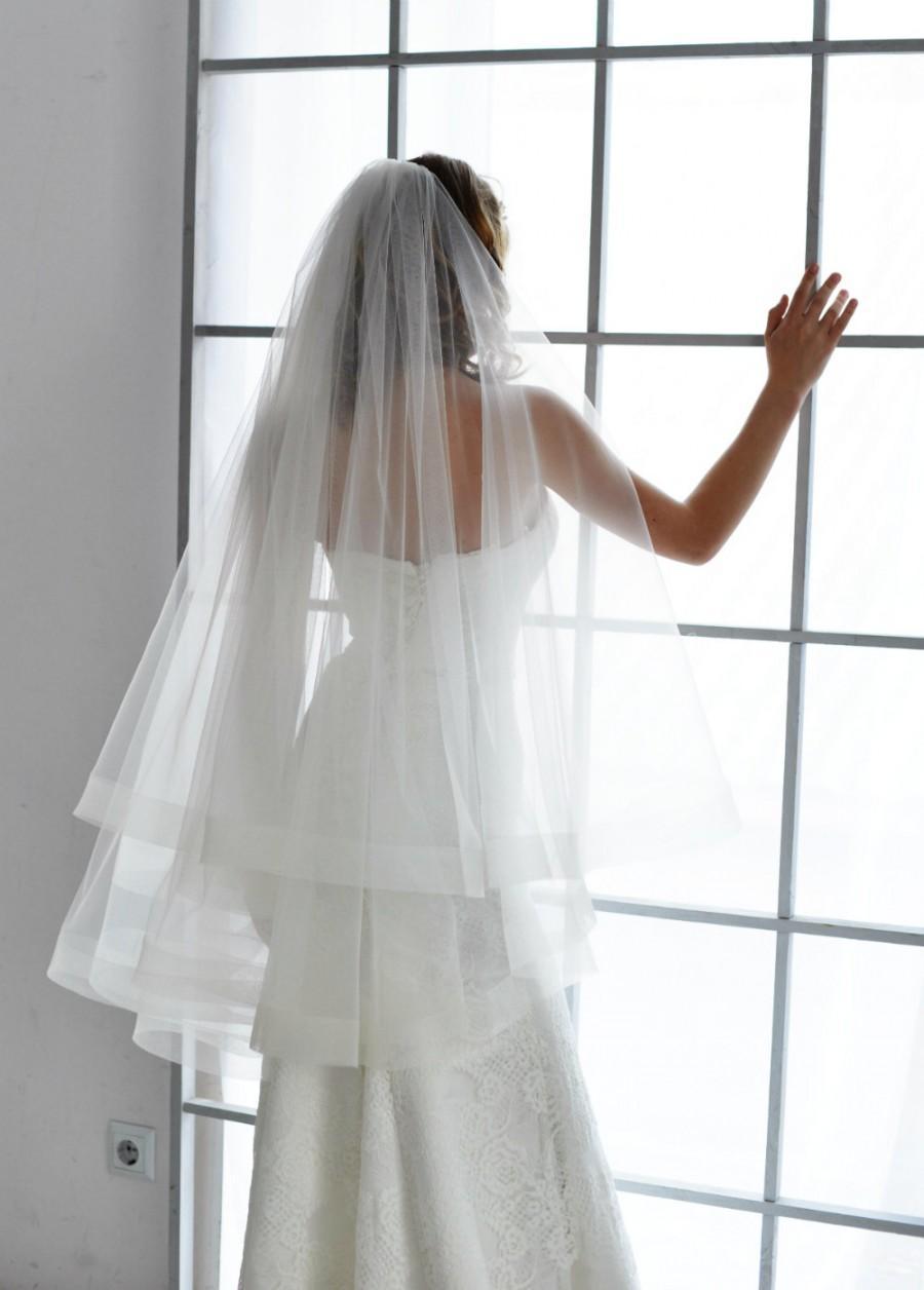 "Mariage - wedding veil, horsehair veil, horsehair trim veil, 2"" trim veil, cathedral veil, drop veil, double layer veil, blusher veil, horse hair"