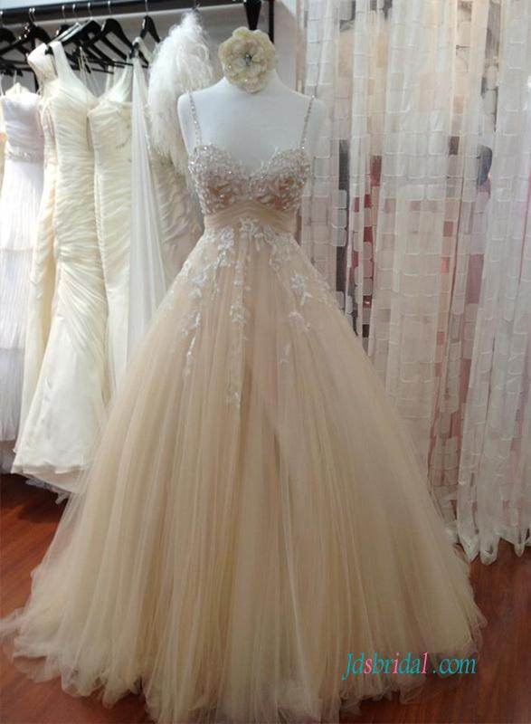 Wedding - Champagne Beading thin straps tulle ball gown wedding dress
