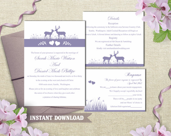 Boda - Wedding Invitation Template Download Printable Wedding Invitation Editable Lavender Invitation Purple Wedding Invitation Elegant Invites DIY