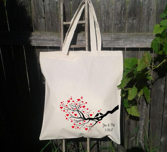 Mariage - Wedding Tote 20 Wedding Welcome Bags-Personalized Wedding Tote - Tree Heart with Birds No 3