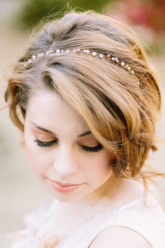 Hochzeit - Bridal Headband With Pearls Crystals Rhinestones, Wedding Headband, Bridal Headpiece