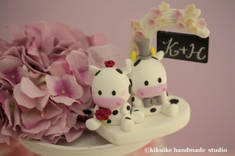 Свадьба - cow Wedding Cake Topper-love cow,ox---k749