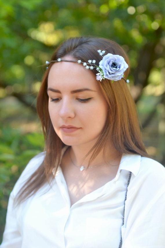 Boda - Wedding floral crown Gray blue rose hair wreath Bridal flower crown Blue wedding head piece Boho wedding floral headband Serenity crown
