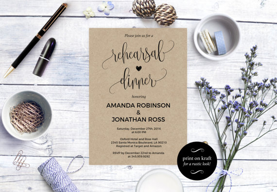 Mariage - Rehearsal dinner invitation - Rustic Wedding Invitation Printable - Kraft Rehearsal Invitation - Downloadable wedding invitations