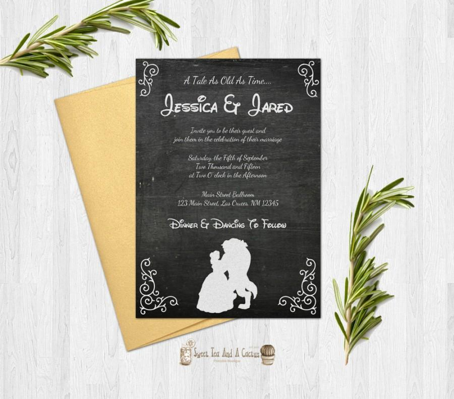 Beauty and the beast wedding invitation rustic chalkboard printable digital file or prints with free shipping princess print be our guest