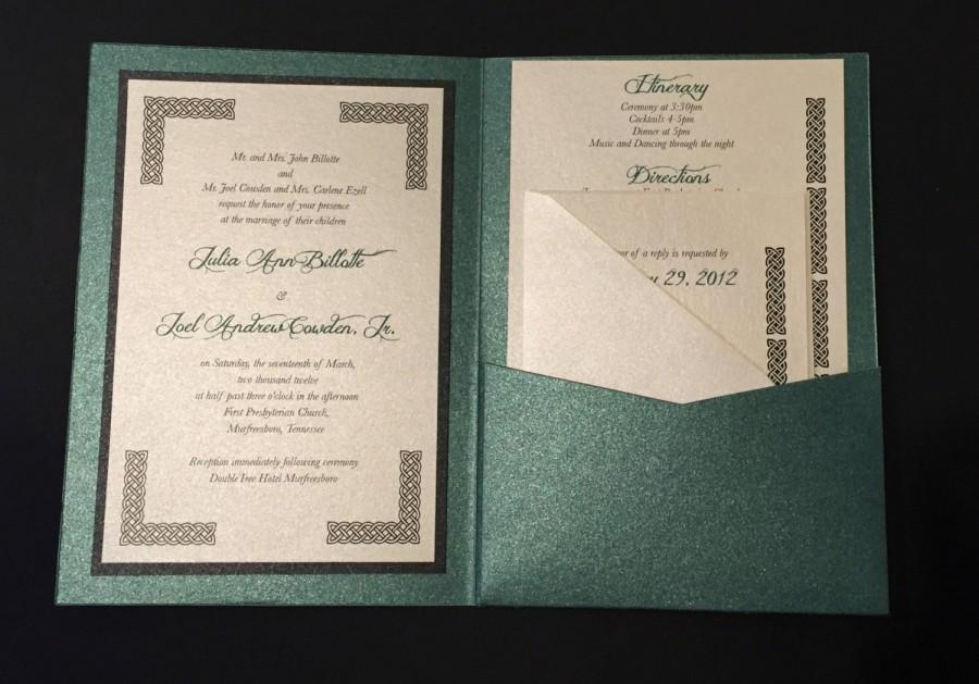 irish green celtic wedding invitation a7 pocket folded 2668565
