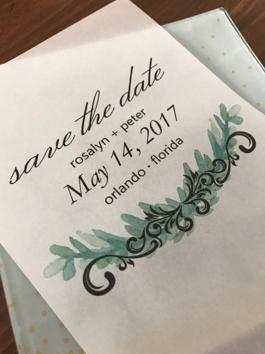 زفاف - Custom Greenery Vellum Save the Date Invite with and without card stock background/Elegant/Modern/Simple/Unique/Flourish/Botanical/Nature