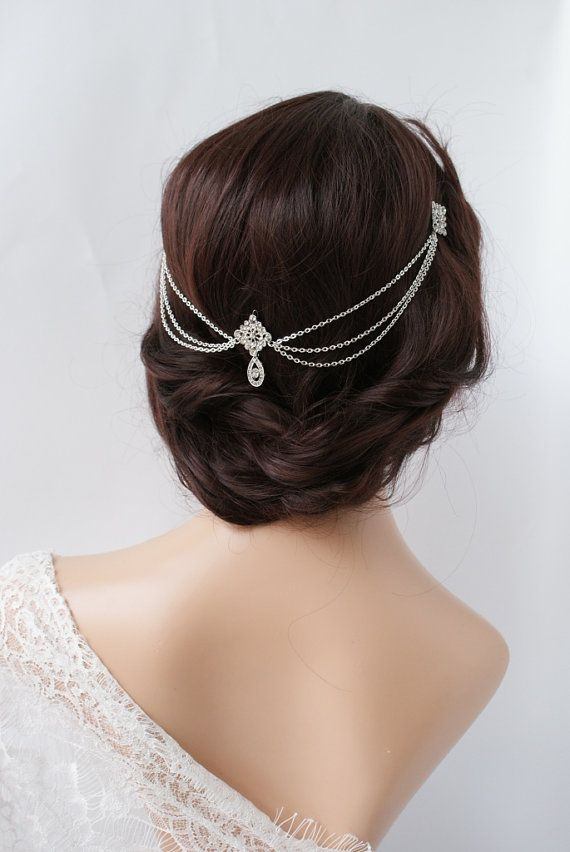 Mariage - 1920s Wedding Headpiece With Swags - Vintage Bridal Headpiece - Hair Chain Style Accessory - 1920s Wedding Dress